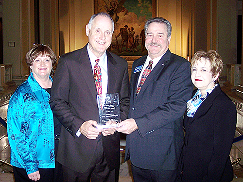 Attending the award presentation on March 4 at the Capitol are, from left, Carol and Harold Wright and Circle of Care officials Don Batson and Lissa Wright. Photo by Tod Bryant